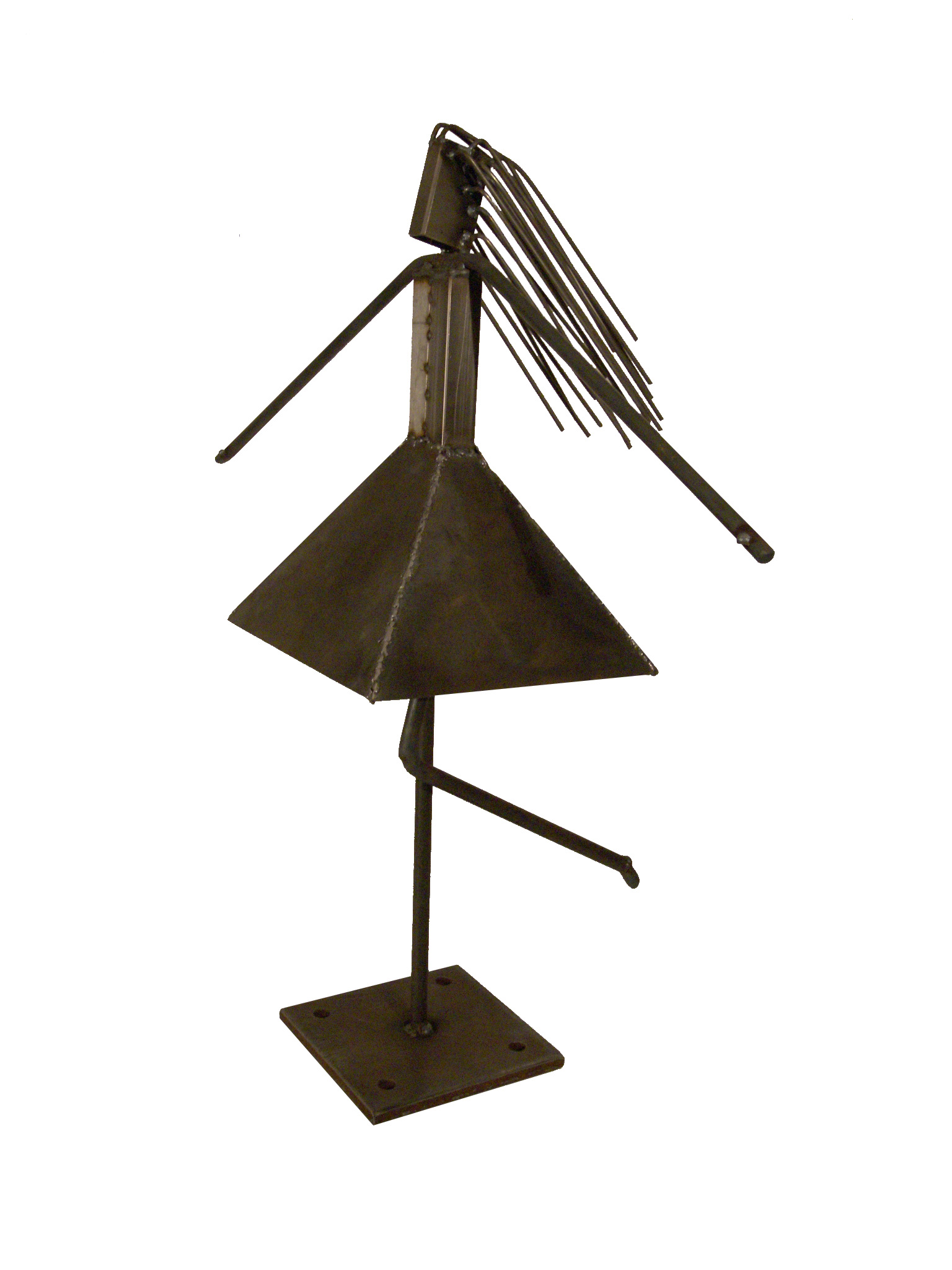 Wide Skirt, a metal sculpture of a woman with long, flowing hair and big skirt